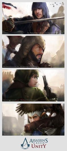 Young Eron, Habim, Mathew, and Alix inspiration (Assassin's Creed Unity Banner by Brilcrist on deviantART)