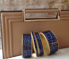 Navy blue wide bangles --Chauci Charvet