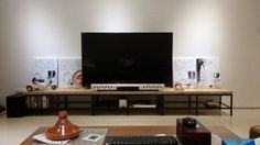 Contemporary wooden-top TV bench