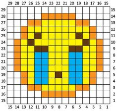 Crochet Squares Sobbing Emoji Crochet Square and Pixel Graph - Repeat Crafter Me - Sobbing Emoji is the second square in my Crochet Emoji Graphgan! If you missed square Pixel Crochet, C2c Crochet, Tapestry Crochet, Crochet Chart, Crochet Squares, Repeat Crafter Me, Christmas Characters, Perler Patterns, Knitting Charts