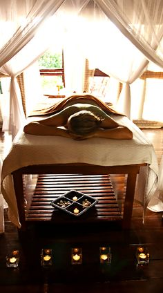 Spa Kamper tip : Place something on the floor under headrest for clients to meditate/ focus on