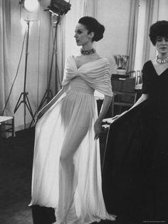 Molyneux's See Thru Jersey Evening Dress, Life magazine 1965  photo by Paul Schutzer