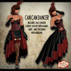 Second Life Marketplace - -=Brain Circuit Inc=- Can Can Dancer (Cherry)