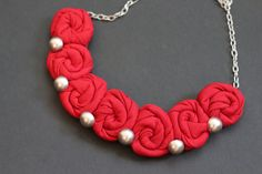 Red textile necklace