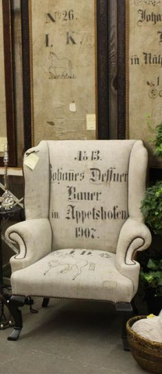 chair - stenciled German grain sack