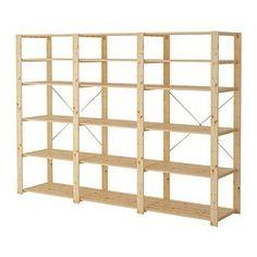 IKEA - HEJNE, 3 sektioner/hylder, , Du kan nemt udvide din opbevaringsløsning, hvis du får brug for mere opbevaring, ved at tilføje flere sektioner og hylder.Ubehandlet massivt træ er et holdbart naturmateriale, der bliver endnu mere holdbart og nemt at vedligeholde, hvis du behandler overfladen med olie eller voks.Du kan gøre møblerne endnu mere personlige ved at behandle dem med bejdse eller lak i din yndlingsfarve.