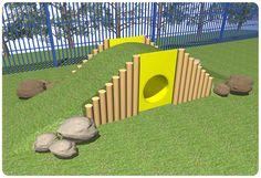 Nursery School Playground Play Mound | Kids Outdoor Tunnel Ramp Mound | Suppliers UK