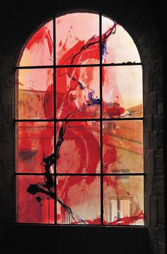Modern stained glass in a church in Paris, by artist (and monk) Kim En Joong