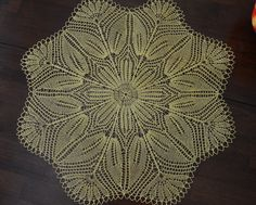 "23"" handmade knitted lace doily/ table centerpiece - yellow - ready to ship by BloomingNeedles on Etsy"