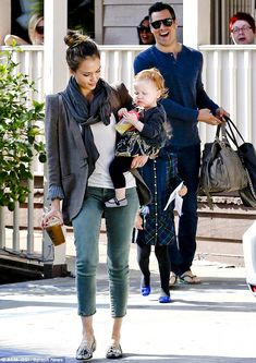 Family time: Jessica holds baby Haven while Honor and Cash follow after enjoying a breakfast in Los Angeles on Saturday