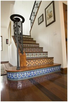 ooh want to do this with turkish tiles. this would look cute on a second stair case off a kitchen