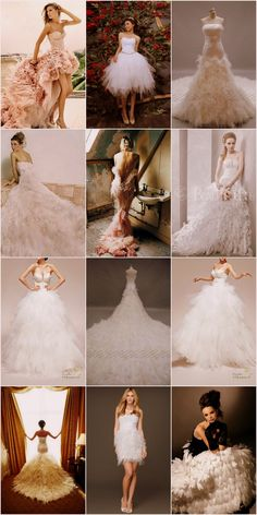 Feather Wedding Dresses - Our fabulous collection of Feather Wedding Dresses and Gowns for the ultimate feather inspiration ♥