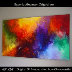Original OIL Painting on Canvas 4'x2' Abstract decor Eugenia Abramson