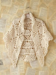 Beige crochet poncho