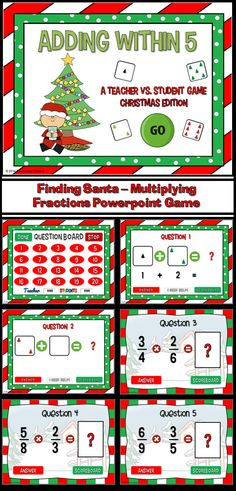 Practice adding with this fun Christmas addition game. Using pictures of dice with Christmas trees instead dots, students add numbers from 0 to 5. Great for a guided math center or rainy day activity. There are 20 questions and you just click on each question to go to it. The question disappears after you've clicked on it so you know you've answered it.