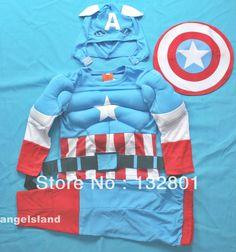 Muscle Captain America Party Costume 3pcs Set 2-3Y $12.99