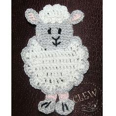 Applique Sheep Crochet 4pcs - Supplies for baby clothing or Nursery. $8.00, via Etsy.