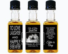 Custom Whiskey Mini Bottle Labels Wedding Favors by LiquidCourage