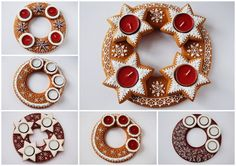 Advent wreath More Christmas Gingerbread House, Gingerbread Cake, Fancy Cookies, Christmas Cookies, Cookie House, Fondant Cookies, Advent Wreath, Cookies Et Biscuits, Cookie Decorating