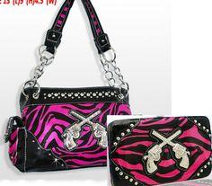 Western Zebra Print Purse Handbag Wallet Rhinestone Double guns. J just bought me one like this