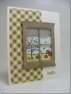 WINDOW DIE -- LeAnne Pugliese WeeInklings Happy Scenes Autumn Hello