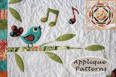 "Get the Songbird applique pattern along with Tree branch & Sun to complete the ""Secret Garden"" Quilt Blanket designed by Craft Passion."