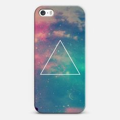 Colorful Cute Girly Turquoise Blue Pink Space Nebula Galaxy Sky Clouds Stars Photo Triangle - New Standard Case