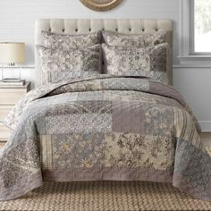 Add a touch of charm to your bedroom with the lovely Davis Quilt. Adorned with a beautiful patchwork of florals and a velvet frame, the soft taupe and beige bedding instantly dresses your bed in elegance. Bedroom Sets, Dream Bedroom, Master Bedroom, Bedrooms, Taupe Bedding, Bedroom Furniture, Bedroom Decor, A Frame House, Beige
