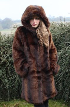 Mink Faux Fur Hooded Coat Autumn Winter Fashion British Woodland www.rubyanded.co.uk