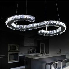 Luxurious kitchen ceiling lights, flush ceiling lights of different crystal design, find your favorite ac 110-230v 21w s letter led crystal chandelier lighting clear crystal large size led luxury modern pendant lamp lustres chandeliers fixture from gylighting0717 and enjoy the new look of your house with glass pendant lights.
