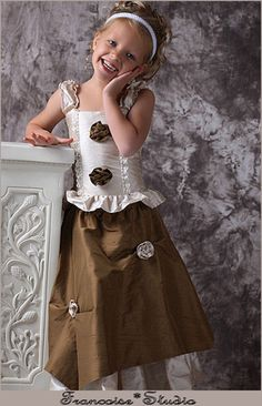 Couture Portrait Holiday Communion Birthday Easter Formal Party Pageant silk Dress outfit  Flower girl - Amandine - French European design children's boutique clothing