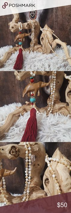 """NEW! CRYSTAL BEAD ELEPHANT TASSEL NECKLACE NEW! CRYSTAL BEAD ELEPHANT TASSEL NECKLACE! One of my favs. Hand made. 60"""". Real crystals. Beautiful quality. Embellished with a wood carved elephant, turquoise & stone beads with hand made cotton tassel! Wrap once or twice for styles. (Elephant items sold have proceeds that go to charity to help save the elephants!!more info contact me. Help save!!) Bohemian Cowgirl Collection! Creative Crystal Designs Jewelry Necklaces"""