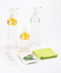 Cut toxic chemicals, save cash and craft natural cleaning solutions with this earth-friendly set that includes two reusable spray bottles and a reusable mixing container. A lemon juicer fits all three bottles to give homemade cleaning solutions a fresh scent and extra disinfecting power, while a microfiber cleaning cloth makes surfaces sparkle. Stickers make labeling simple, and the included guide features easy recipes for at-home cleansers made from safe ingredients. Create surface sprays…