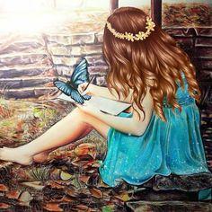 Art/Drawings: Nature (by Kristina Webb) Amazing Drawings, Beautiful Drawings, Cute Drawings, Amazing Art, Girl Drawings, Beautiful Artwork, Kristina Webb Drawings, Kristina Webb Art, How To Make Drawing