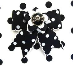 Buy here: http://punkupbettie.bigcartel.com/product/psychomatic-skull-and-crossbones-rose-dot-hair-bow-black