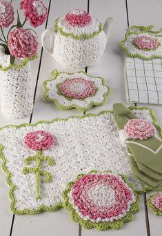 30 Beautiful Image of Crochet Kitchen Patterns Crochet Kitchen Patterns Crochet Pattern Pdf Carnation Kitchen Set Crochet Everything Crochet Kitchen, Crochet Home, Crochet Crafts, Crochet Projects, Knit Crochet, Free Crochet, Diy Crafts, Crochet Potholders, Easy Crochet Patterns