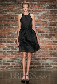 Jim Hjelm - Fall 2014. Occasions style 5418, black organza A-line bridesmaid dress, racer neckline exposed zipper at back, natural waist, Jim Hjelm