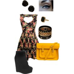 golden floral, created by angela-zanotti on Polyvore