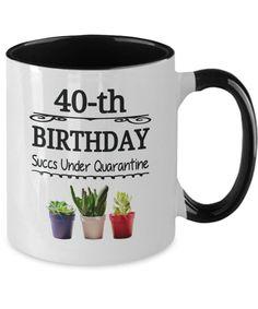 40 Years Old Quarantine Birthday Mug Succulent Gift Born 1980 | Etsy