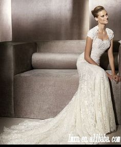 cap sleeve sweetheart sheath floor length lace wedding dress-- just sweetheart cut in this dress would be perfect!