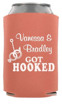 TWC-6576 - Just Got Hooked - Nautical Wedding Can Cooler #wedding #koozie