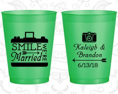 Smile We are Married, Cheap Frosted Cups, Arrow Wedding, Wedding Party, Camera, Green Frosted Cups (361)