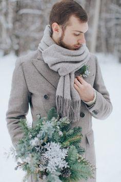 winter groom style зимний образ жениха