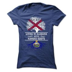 LIVING IN ALABAMA WITH KANSAS ROOTS T SHIRTS - #lace shirt #tshirt stamp. ORDER NOW => https://www.sunfrog.com/States/LIVING-IN-ALABAMA-WITH-KANSAS-ROOTS-T-SHIRTS-Ladies.html?68278