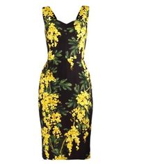 DOLCE & GABBANA Mimosa-print cady dress (5.240 RON) ❤ liked on Polyvore