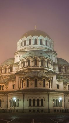 Alexander Nevsky Cathedral At Night, Bulgaria (Sofia is one of the foggiest cities in Europe...very enchanting at night)