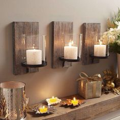 DIY Wood backed candle holder trio set