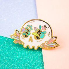 Crystal Floral Skull Enamel Pin