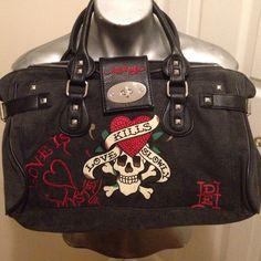 Ed Hardy bag Dark grey light black denim-like purse. Like new condition 1997df1264597