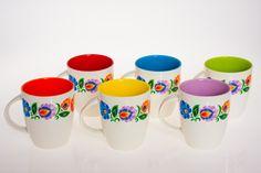 Polish folk art mugs - set of 6: Folkstar - komplet sześciu kubków z kolorowymi wnętrzami folk design - ludowe kwiaty - Folkstar.pl